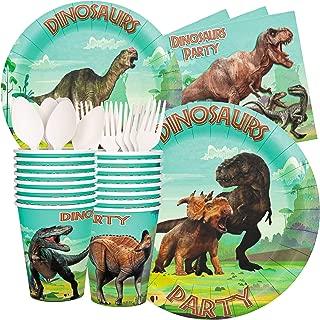 Honey Duck Dinosaur Party Supplies Birthday Decorations - Dinosaur Plates Cups Napkins Spoons Forks - 16 Guests Jurassic Park World Boys Girls Kids Dino Themed Set