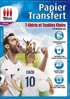 Papier Transfert pour Textile - Pochette 10 Feuilles A4 Papier Transfert pour T-shirts et Textiles Clairs, 1 Feuille Papie...