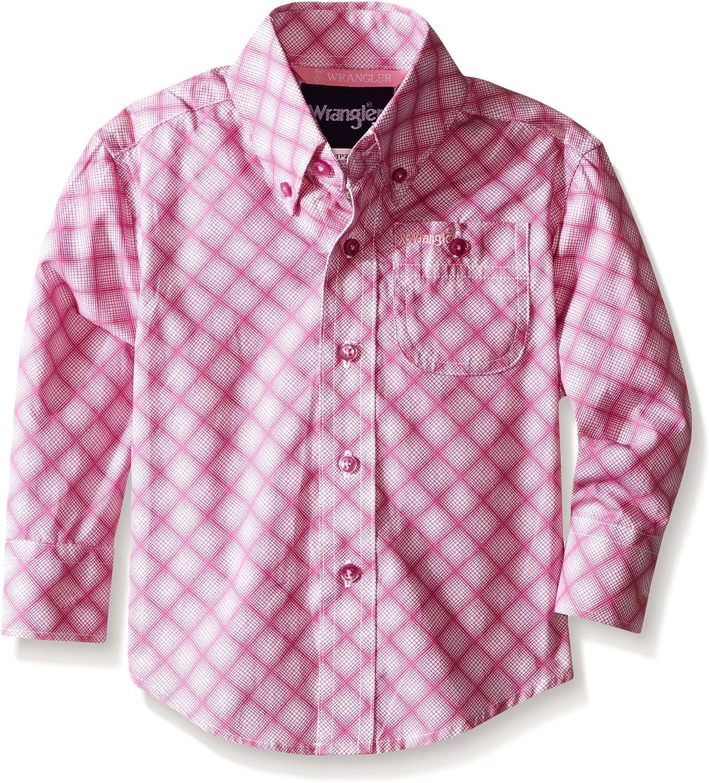 Wrangler Boys' Big Tough Enough to Wear Pink Button Long Sleeve Shirt