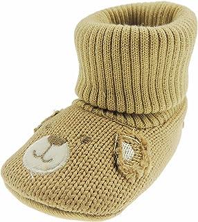 Glamour Girlz, Super lindo bebé niños niñas punto cara sonriente oso punto calcetín botas de punto 13 6-12 meses chocolate