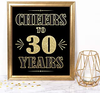 Katie Doodle 30th Birthday Anniversary Decorations for Him Her Dirty 30 Birthday Party Supplies   Includes 8x10 Cheers-to-30-Years Sign [Unframed], Gold & Black