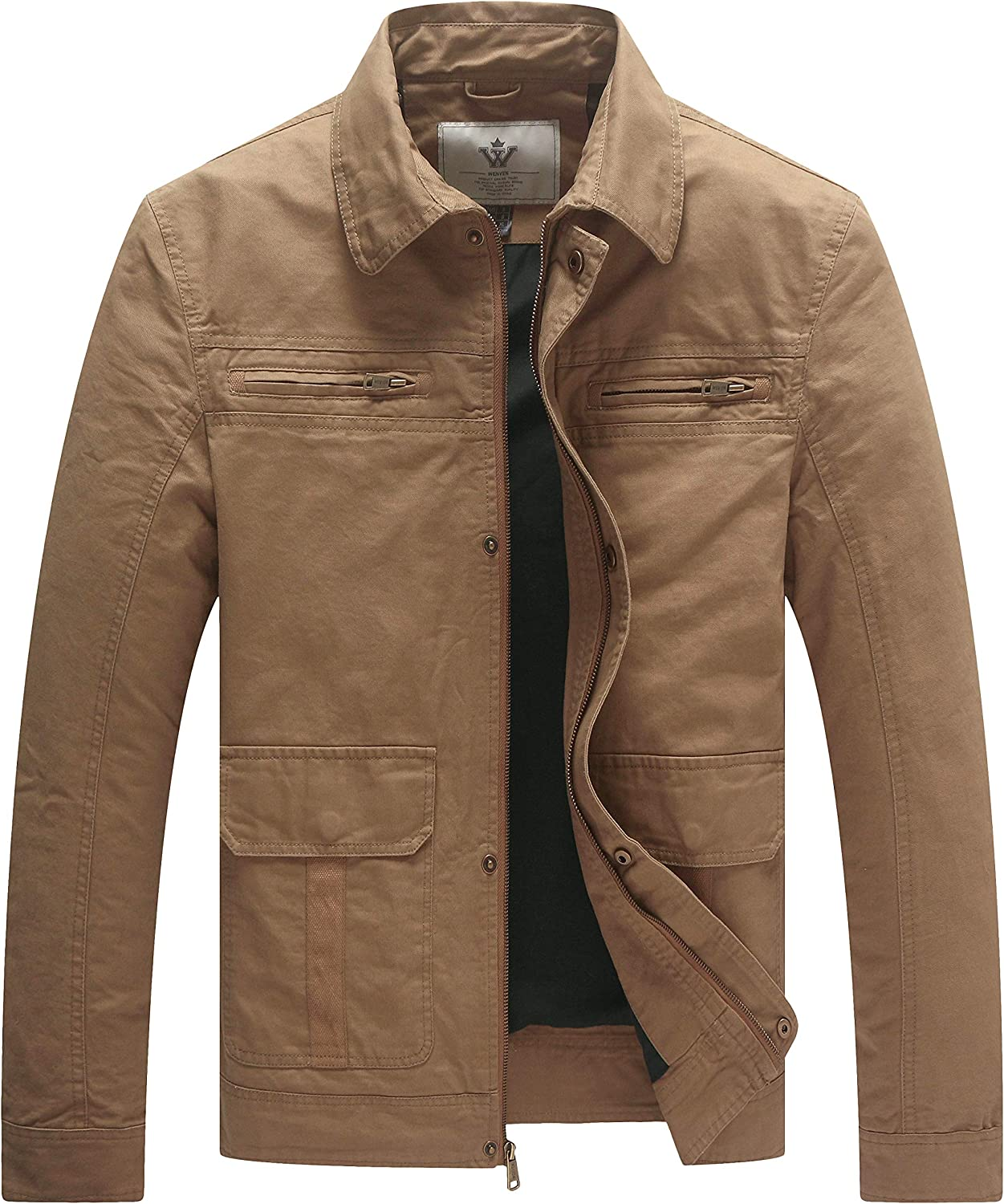 WenVen Men's Very popular Casual Lightweight Canvas Ranking TOP8 Military L Utility Jacket