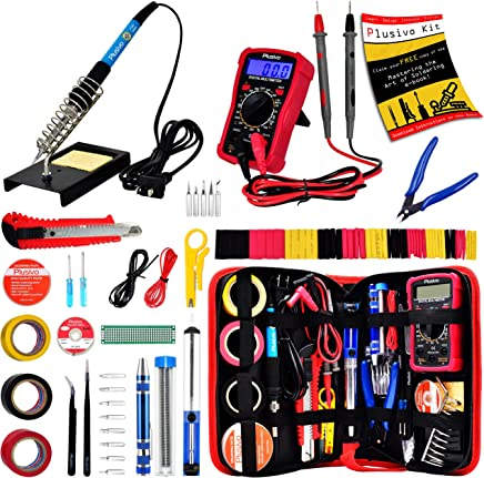 Soldering Iron Kit - Soldering Iron 60 W Adjustable Temperature, Digital Multimeter, Wire Cutter