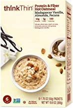 Oatmeal Packets by thinkThin, Instant Protein & Fiber Hot Oatmeal for On The Go- 10g Protein, 5g Fiber, Vegan - Madagascar Vanilla with Almonds and Pecans, 1.76 oz Packets (6 Boxes/6 Packets Per Box)