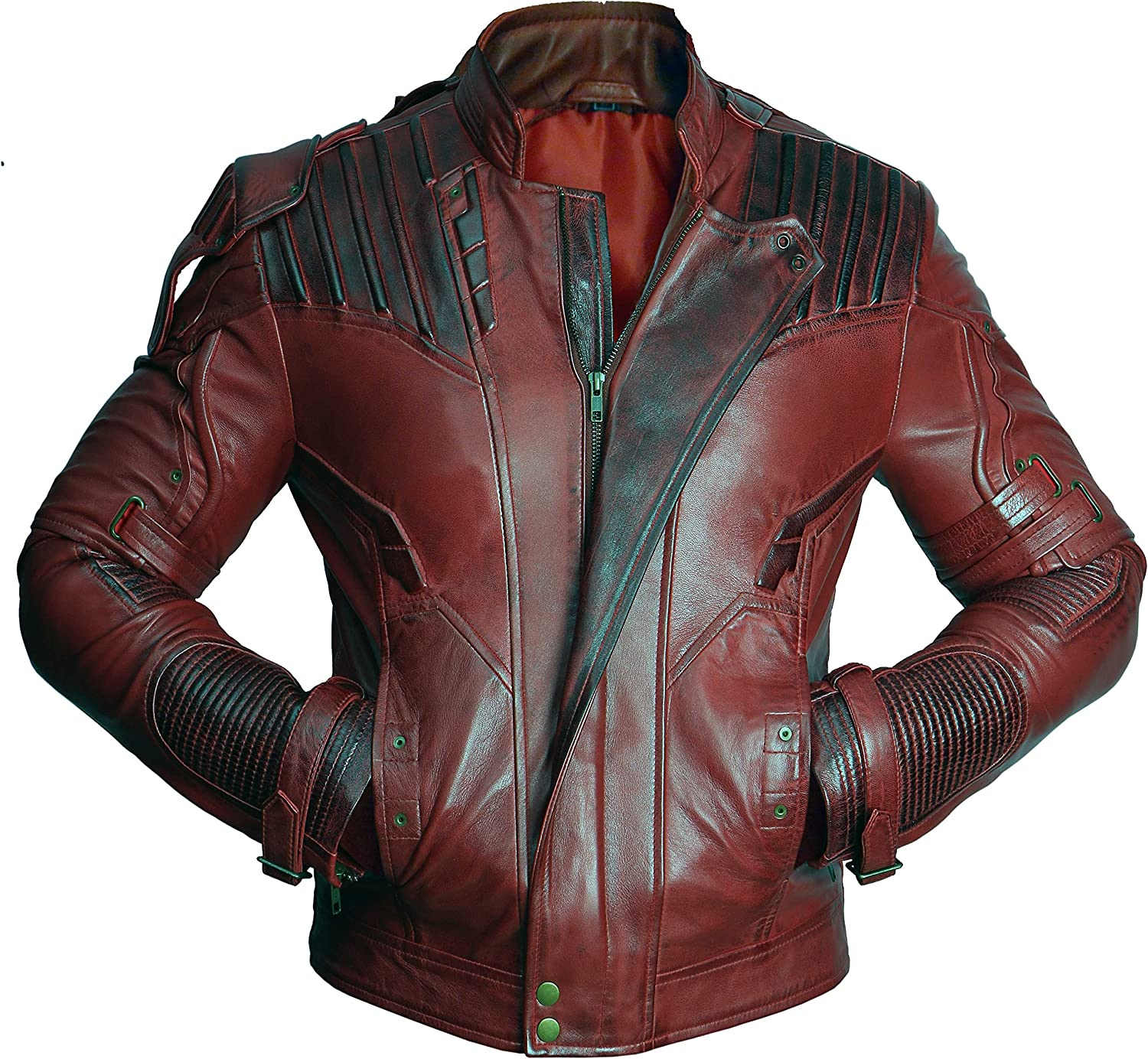 Mens Guardians Distressed Red Maroon Leather Jacket