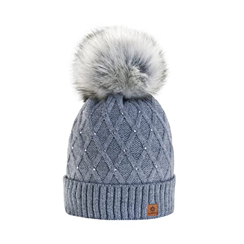 Women Girls Winter Beanie Hat Wool Knitted CRYSTAL with Large Pom Pom Cap  SKI Snowboard Hats f1d09042949c