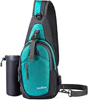 AmHoo Sling Backpack Chest Shoudler Crossbody Bag Waterproof Hiking Daypack for Women and Man with Water Bottle Holder and USB Charging Port-Turquoise
