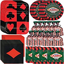 Unique Casino Party Bundle   Napkins, Plates, Table Cover & Cellophane Treat Bags   Great for Las Vegas/Poker Night Birthday/Christmas/Corporate Themed Parties