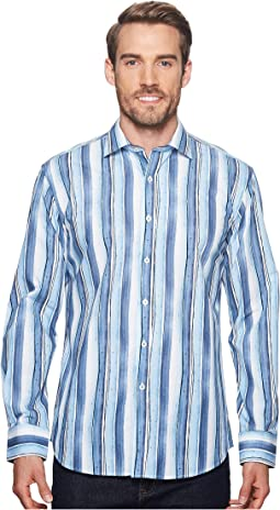 BUGATCHI - Shaped Fit Striped Woven Shirt
