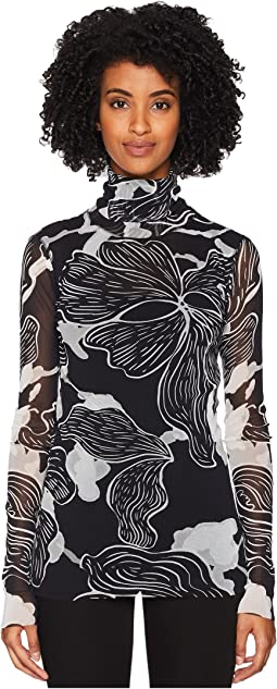 Long Sleeve T-Neck Deco Flower
