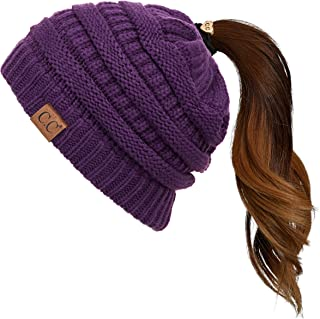 C.C Exclusives Soft Stretch Cable Knit Messy Bun Ponytail Beanie Winter Hat for Women (MB-20A)(CCB-1)