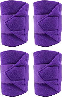 CHALLENGER Horse Equine Leg Care Horse Grooming Pack of 4 Fleece Polo Wraps Purple 95J03