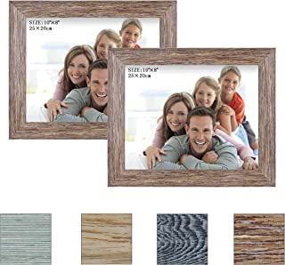 Julone 8x10 Picture Frames (Rotten Brown 2 Pack) Rustic Style Wood Pattern Table Top Display and Wall Mounting Photo Frame