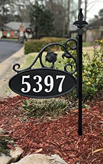 USA Handcrafted -Yard Sign Address Plaque with Highway-Grade Reflective Vinyl House Numbers Wrought Iron Look, Oval, Black, Double Sided House Plate, 911 Visibility Signage, 30