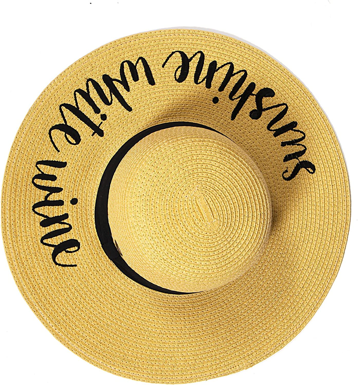 SERENITA Summer Sun Hats Women C.C Hat, Embroidery Lettering Floppy, Wide Brim Sun Predection