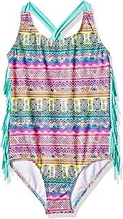 Big Girls' Ombre Tribal Stripe Fringe Swim Suit 1pc