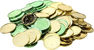 """Amscan Green & Gold Coin Plastic Table Sprinkles, 1 3/8"""", Multicolor"""