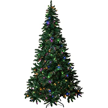 Amazing Seasons 7.5 ft Pre-Lit Christmas Tree | Pre-Strung with 480 LED Multi-Color and Warm White Christmas Lights | 6 Functions with Foot Switch | Artificial Pine with Hinged Branches, Green