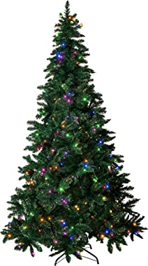 Amazing Seasons 7.5 ft Pre-Lit Christmas Tree | Pre-Strung with 480 LED Multi-Color and Warm White Christmas Lights | 6 Funct