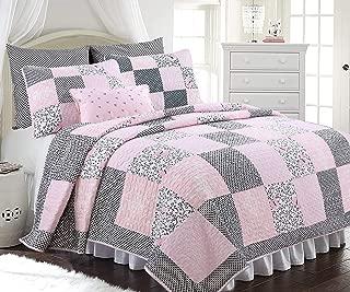 Cozy Line Home Fashions Vivinna Baby Pink White Black Grid Flower Pattern Patchwork Cotton Bedding Quilt Set Coverlet Bedspreads for Kids Girls Women (Pink/Black, Full/Queen - 3 Piece)