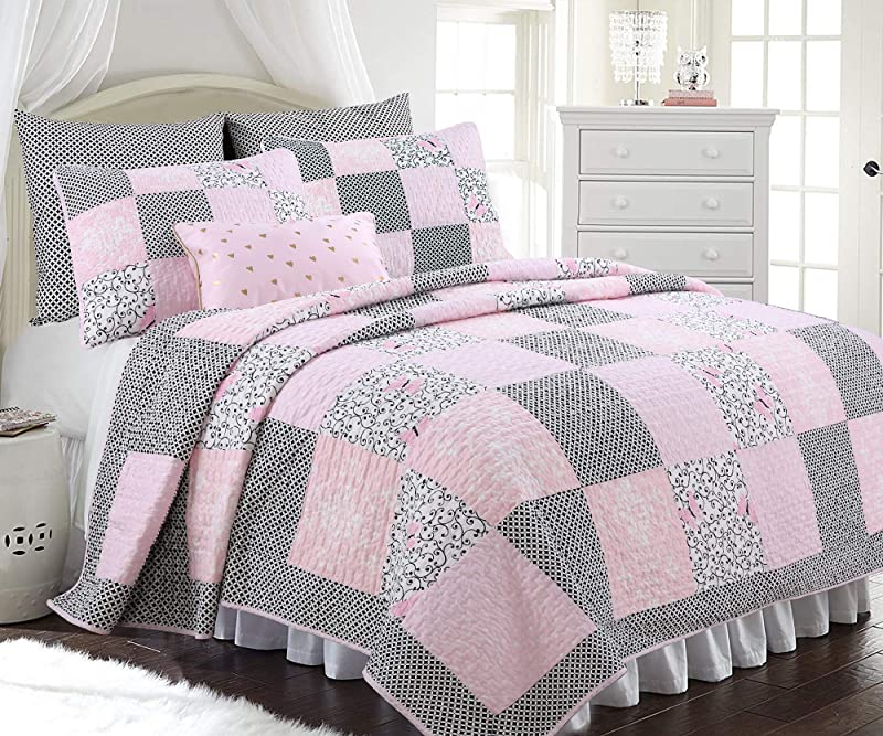 Cozy Line Home Fashions Vivinna Baby Pink White Black Grid Flower Pattern Patchwork Cotton Bedding Quilt Set Coverlet Bedspreads For Kids Girls Women Pink Black Full Queen 3 Piece