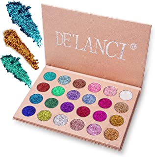 DE`LANCI Pressed Glitter Eyeshadow Palette - Professional Highly Pigmented and Long-Lasting Mineral Shimmer Makeup Pallet Eye Shadows Flash Color Waterproof Cosmetic Set(Cruelty Free,24 Color)