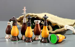 """StonKraft Collector Edition Brass Chess Pieces Pawns Chessmen Chess Coins Figurine Pieces (3.5"""" Wood Brass Combi)"""