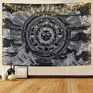 Sevenstars Moon Tapestry Black and White Tapestry Dark Tapestries Cloud Tapestry Sun Tapestry Psychedelic Tapestries for Room
