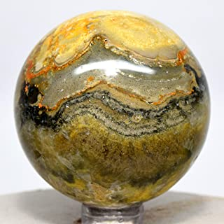 49mm Multicolor Bumble Bee Jasper Sphere Natural Banded Mineral Ball Sparkling Crystal Polished Stone - Indonesia + Stand