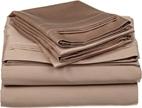 100% Egyptian Cotton 650 Thread Count, Twin XL 3-Piece Sheet Set, Deep Pocket, Single Ply, Solid, Taupe