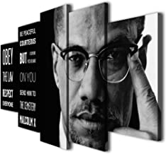 5 Panel Malcolm X Right Thing Quotes Canvas Giclee Print Painting Picture Wall Art Home Modern Decor (with Framed, Size 1:...