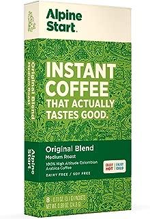 Alpine Start Premium Instant Coffee, 8 Single Packets, Original Blend, Medium Roast, 100% High Altitude Colombian Arabica Coffee, 0.88 Ounces, Dairy Free, Gluten Free, Vegan, Vegetarian, Keto