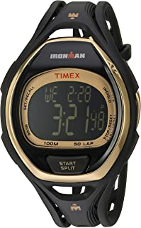 Timex Tw5M06000 Ironman Sleek 50 Full-Size Black/Gold-Tone Resin Strap Watch, Digital Display, For Unisex
