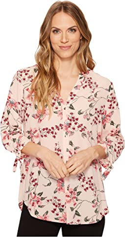 Ivanka Trump - Tie Sleeve Floral Metallic Blouse