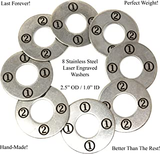 AirstreamIT Laser Engraved Stainless Steel Replacement 2.5 Inch Washer Toss Pitching Game Washers - Set of 8