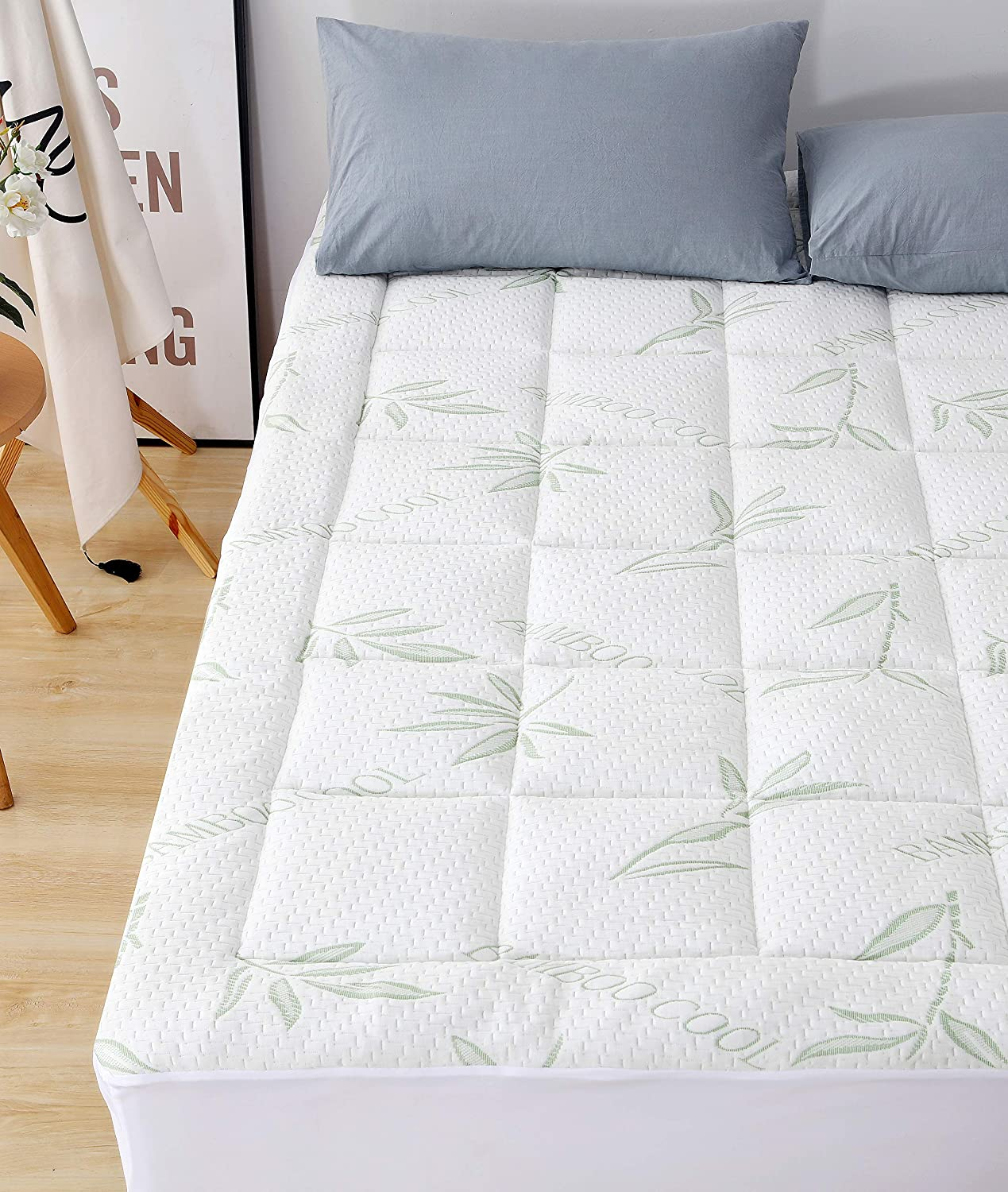 Elegant Comfort Premium Bamboo Mattress Pad-Overfilled Extra Plush Topper Hypoallergenic Breathable Cool Flow Technology, 16  Deep Pocket, Twin, Green