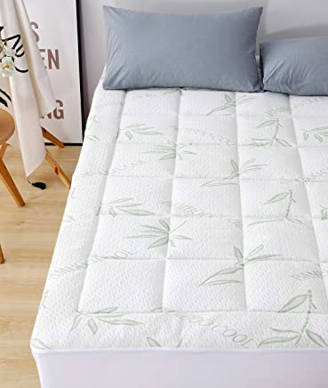 featured product Elegant Comfort Premium Bamboo Mattress Pad-Overfilled Extra Plush Topper Hypoallergenic Breathable Cool Flow Technology,  16 Deep Pocket King Green