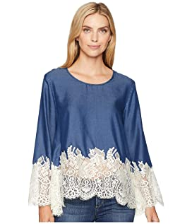 Chambray Lace Border Top