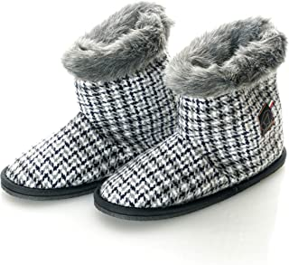 Womens Virgin Wool Pied De Poule Faux Mink Fur Home Bootie Slippers