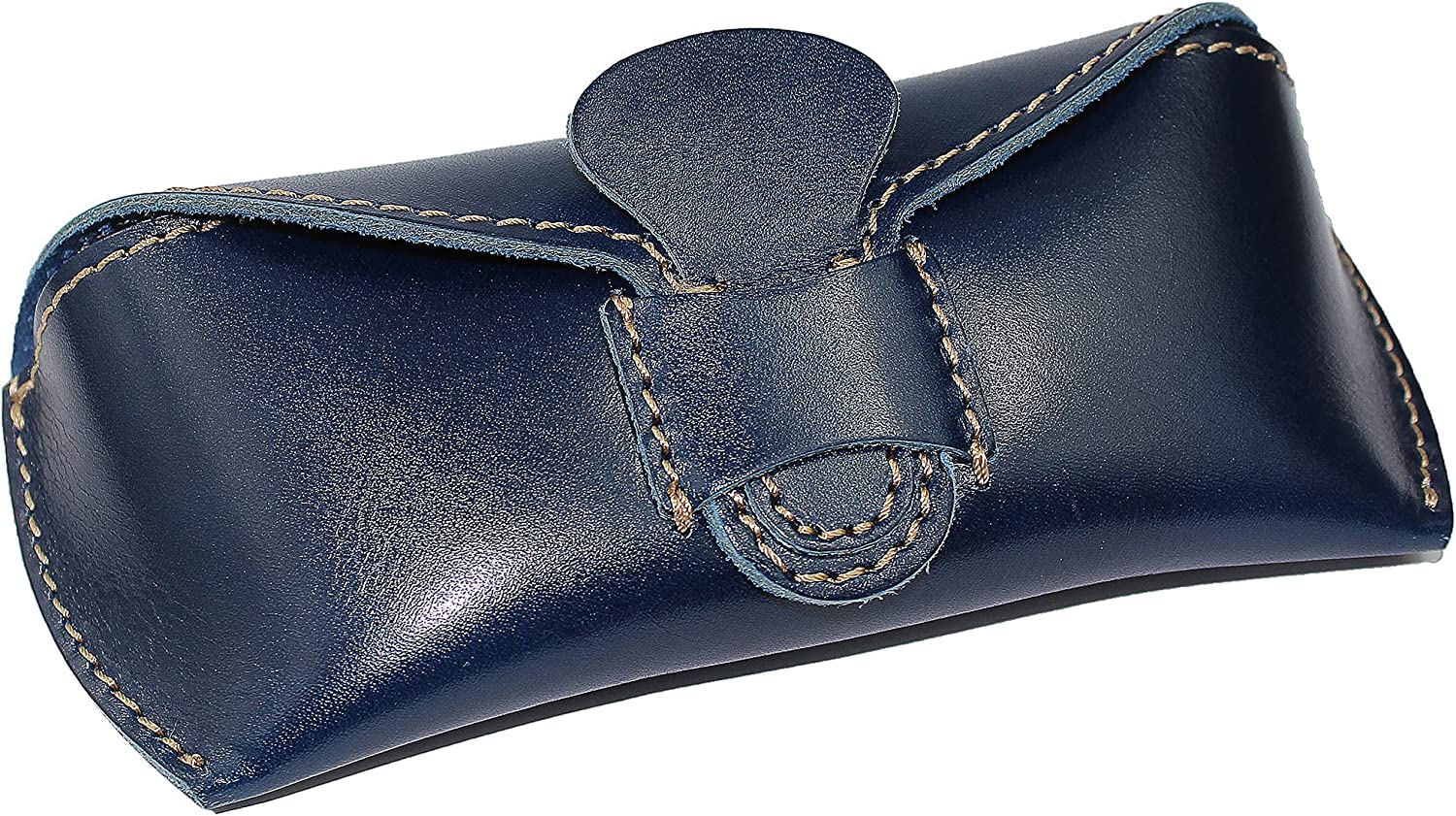 DK86 Genuine Leather Glasses Case Sunglasses Pouch Eyeglass Case, with Belt Loop, for Men and Women (3#Blue)