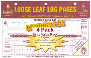 JJ Keller 19361 (545-MP) Loose-Leaf Drivers Daily Log Book w/7 and 8 Day Recap - pack of 4