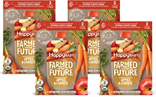 Happy Baby Organics & Regenerative Stage 2 Baby Food, Apples & Carrot, 4 Ounce (Pack of 16)