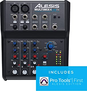 Alesis MultiMix 4 USB FX | 4 Channel Compact Studio Mixer with Built In Effects & USB..