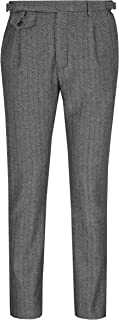 Xposed Classic Kano Men's Tweed Check Trousers Retro 1920s Vintage Styled Herringbone Tailored Fit Suit Pants