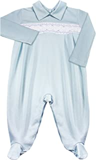 Dakomoda Baby Boys' 100% Organic Pima Cotton Overall Smocked Blue Footie, Easter Overall