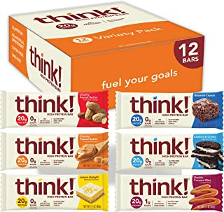 think! High Protein Bars 20g Protein, 0-3g Sugar, No Artificial Sweeteners, Gluten GMO Free, Variety Pack