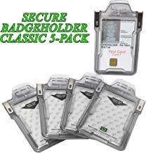5 Pack RFID Blocking Badge Holder Classic by ID Stronghold - FIPS Approved Badge Holder - 100% USA Made IDSH1004-001B - Clear