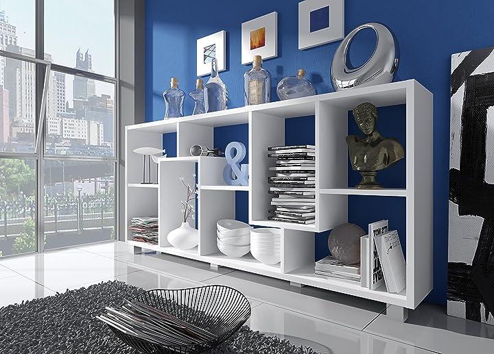 Libreria a parete/divisoria, salone-salla pranzo e soggiorno, 8 scompartimenti portaoggeti 68,5x161x25cm B01N134ELH