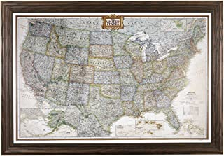 Push Pin Travel Maps Executive US with Solid Wood Brown Frame and Pins - 27.5 inches x 39.5 inches