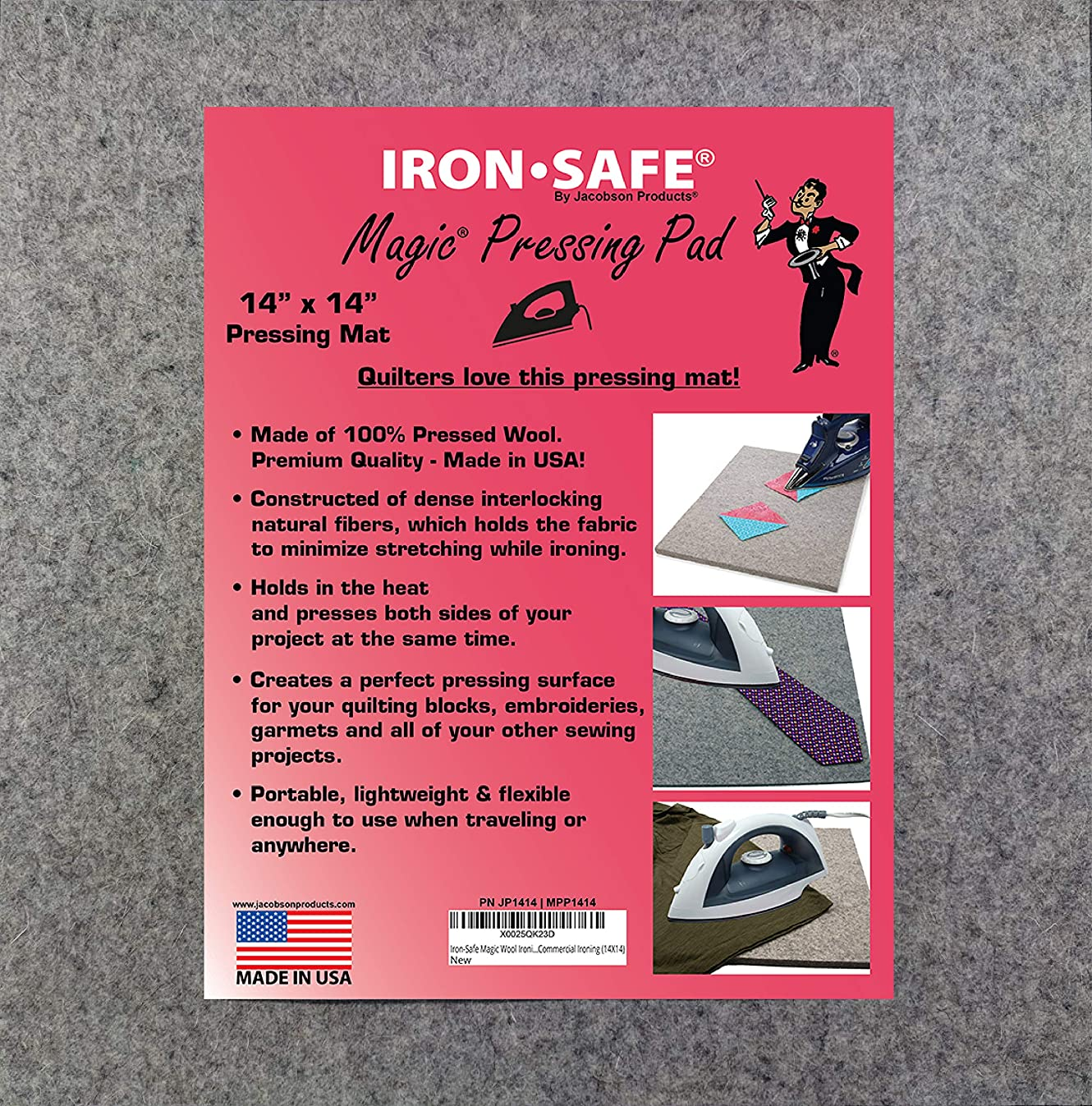 Jacobson Products Iron-Safe Premium Ironing Accessories - Top Hat Premium Non-Stick Sole Plate and Wool Pressing Mats (14 x 14 Wool Pad)